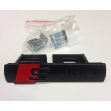 Audihoz S-line grill rács embléma - matt fekete
