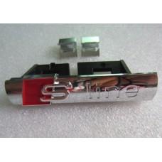 Audihoz S-line grill rács embléma - fényes ezüst (króm)